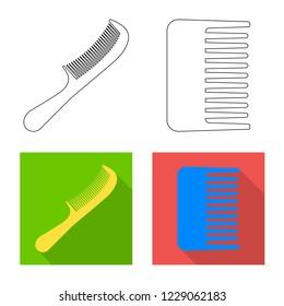 bitmap design of brush and hair symbol. Collection of brush and hairbrush bitmap icon for stock.