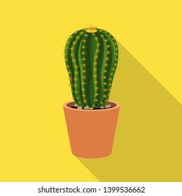 bitmap design of cactus and pot symbol. Collection of cactus and cacti bitmap icon for stock.