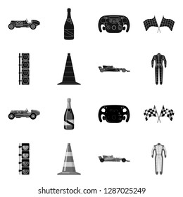 bitmap design of car and rally icon. Collection of car and race stock bitmap illustration.