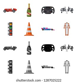 bitmap design of car and rally sign. Collection of car and race bitmap icon for stock.