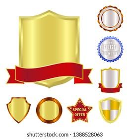 bitmap design of emblem and badge logo. Collection of emblem and sticker stock bitmap illustration.