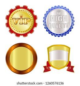 bitmap design of emblem and badge symbol. Set of emblem and sticker stock bitmap illustration.