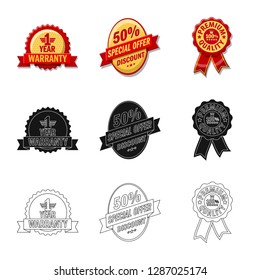 bitmap design of emblem and badge symbol. Collection of emblem and sticker bitmap icon for stock.