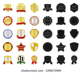 bitmap design of emblem and badge symbol. Collection of emblem and sticker stock bitmap illustration.