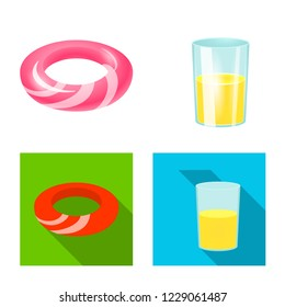 bitmap design of equipment and swimming sign. Collection of equipment and activity bitmap icon for stock.