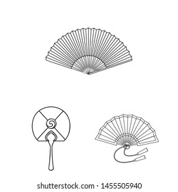 bitmap design of fan and hand logo. Set of fan and paper stock bitmap illustration.