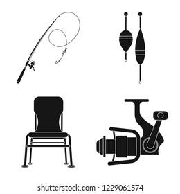 bitmap design of fish and fishing icon. Set of fish and equipment stock bitmap illustration.