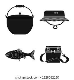 bitmap design of fish and fishing sign. Set of fish and equipment stock bitmap illustration.