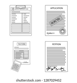 bitmap design of form and document sign. Collection of form and mark stock bitmap illustration.