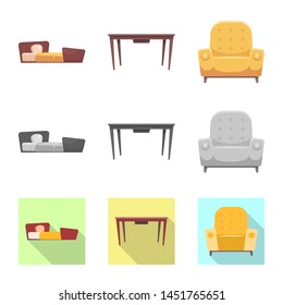 bitmap design of furniture and apartment logo. Collection of furniture and home stock symbol for web.