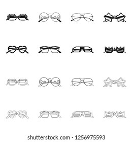 bitmap design of glasses and sunglasses logo. Collection of glasses and accessory stock bitmap illustration.