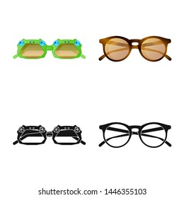 bitmap design of glasses and sunglasses symbol. Collection of glasses and accessory stock symbol for web.