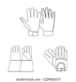 bitmap design of glove and winter icon. Collection of glove and equipment bitmap icon for stock.