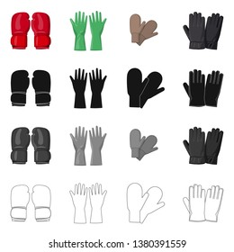 bitmap design of glove and winter icon. Collection of glove and equipment stock bitmap illustration.