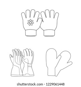 bitmap design of glove and winter logo. Collection of glove and equipment stock bitmap illustration.