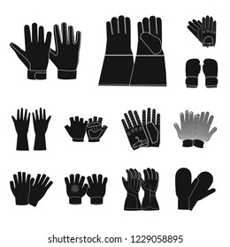 bitmap design of glove and winter sign. Collection of glove and equipment bitmap icon for stock.