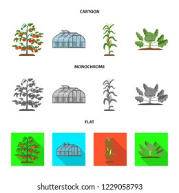 bitmap design of greenhouse and plant logo. Collection of greenhouse and garden bitmap icon for stock.
