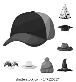 bitmap design of hat and helmet symbol. Collection of hat and profession stock bitmap illustration.