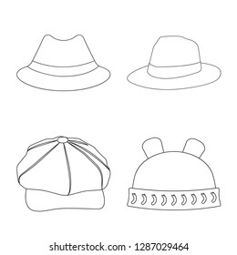 bitmap design of headgear and cap icon. Set of headgear and accessory bitmap icon for stock.