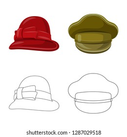 bitmap design of headgear and cap sign. Set of headgear and accessory stock bitmap illustration.