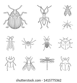 bitmap design of insect and fly logo. Collection of insect and element stock bitmap illustration.