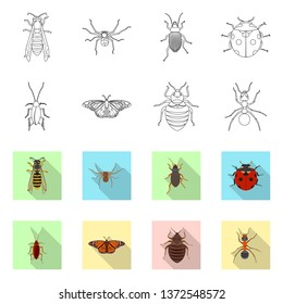 bitmap design of insect and fly sign. Set of insect and element bitmap icon for stock.