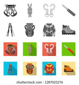 bitmap design of mountaineering and peak logo. Collection of mountaineering and camp stock bitmap illustration.