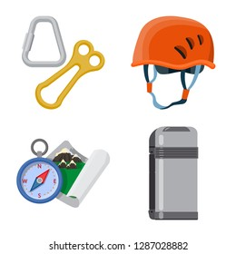 bitmap design of mountaineering and peak logo. Collection of mountaineering and camp bitmap icon for stock.