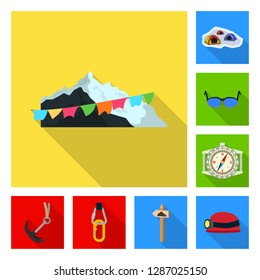bitmap design of mountaineering and peak sign. Set of mountaineering and camp stock bitmap illustration.