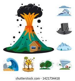 Bitmap design of natural and disaster sign. Collection of natural and risk stock bitmap illustration.