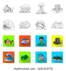 bitmap design of natural and disaster symbol. Collection of natural and risk bitmap icon for stock.
