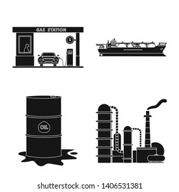 bitmap design of oil and gas logo. Collection of oil and petrol bitmap icon for stock.