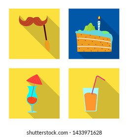 bitmap design of party and birthday icon. Set of party and celebration bitmap icon for stock.