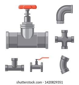 Bitmap design of pipe and tube logo. Set of pipe and pipeline bitmap icon for stock.