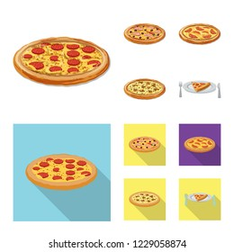 bitmap design of pizza and food sign. Collection of pizza and italy stock bitmap illustration.
