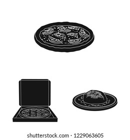 bitmap design of pizza and food sign. Set of pizza and italy stock bitmap illustration.