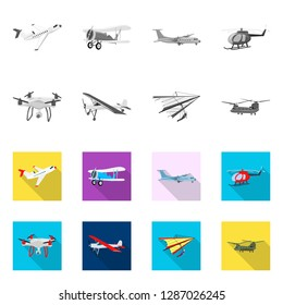 bitmap design of plane and transport logo. Collection of plane and sky bitmap icon for stock.