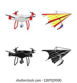 bitmap design of plane and transport sign. Set of plane and sky stock bitmap illustration.