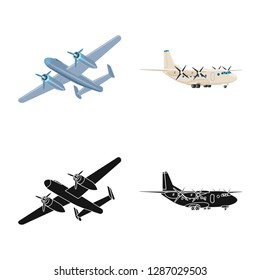 bitmap design of plane and transport sign. Collection of plane and sky bitmap icon for stock.