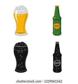 bitmap design of pub and bar logo. Set of pub and interior stock bitmap illustration.