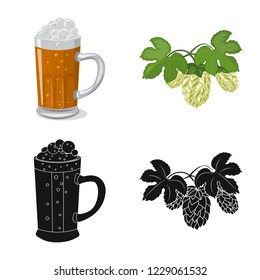 bitmap design of pub and bar symbol. Set of pub and interior bitmap icon for stock.