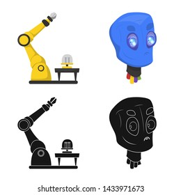 bitmap design of robot and factory symbol. Collection of robot and space bitmap icon for stock.