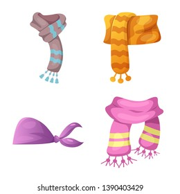bitmap design of scarf and shawl logo. Collection of scarf and accessory stock bitmap illustration.