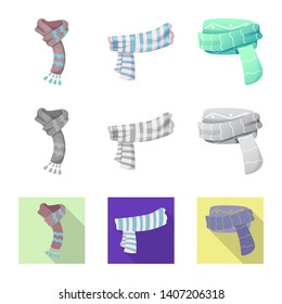 bitmap design of scarf and shawl logo. Set of scarf and accessory bitmap icon for stock.