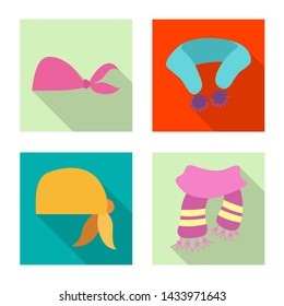 bitmap design of scarf and shawl sign. Set of scarf and accessory bitmap icon for stock.