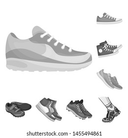 bitmap design of shoe and sport logo. Set of shoe and fitness bitmap icon for stock.