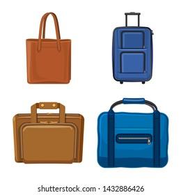 bitmap design of suitcase and baggage logo. Set of suitcase and journey bitmap icon for stock.