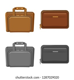 bitmap design of suitcase and baggage symbol. Collection of suitcase and journey bitmap icon for stock.
