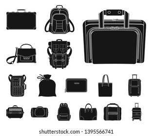 bitmap design of suitcase and baggage symbol. Set of suitcase and journey bitmap icon for stock.