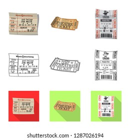 bitmap design of ticket and admission logo. Set of ticket and event bitmap icon for stock.